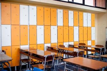 Lockers at an elementary school using Fundermax HPL panels