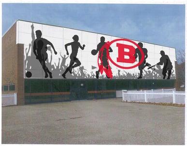 Barnstable high school recreation center with custom digitally printed phenolic panels