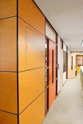 School hallway using Fundermax's durable phenolic panels