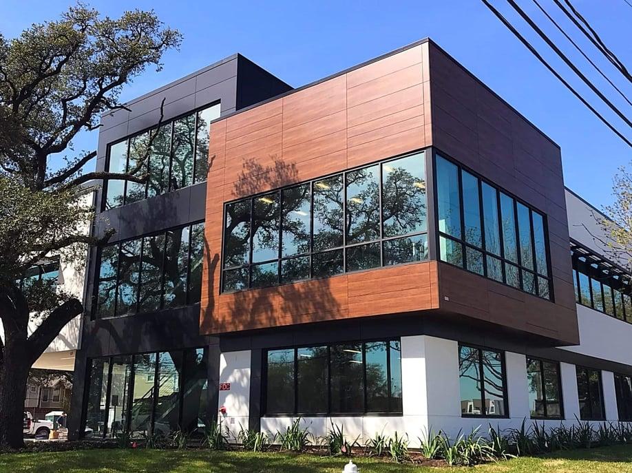 Edifis Office Building in Texas using Fundermax woodgrain phenolic panels