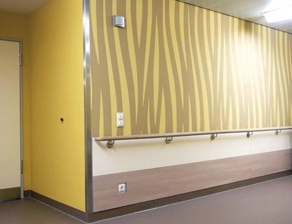 Custom hospital hallway with animal-like design printed