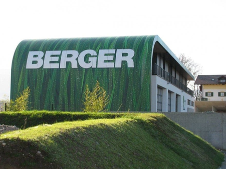 Custom branded image for the exterior of Berger offices that extended even to the roof