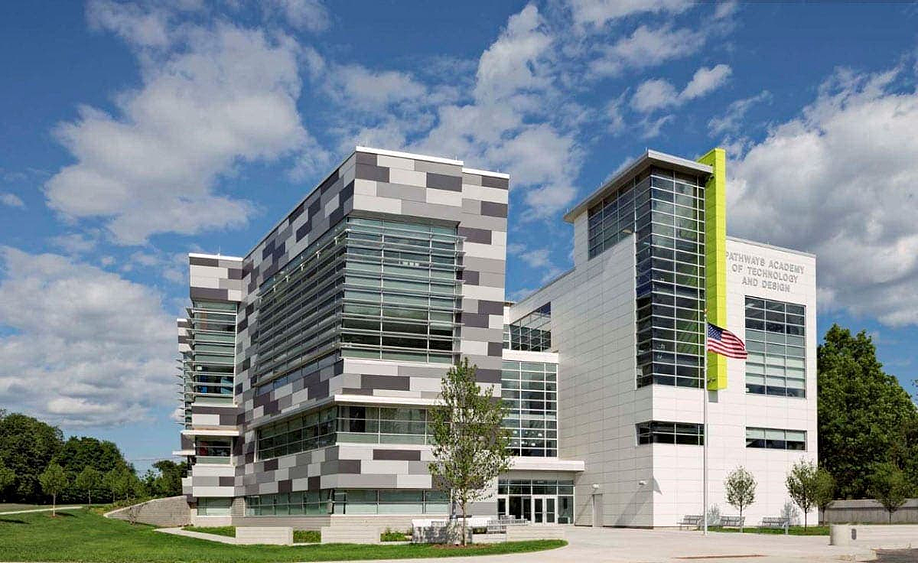 Rainscreen facade example using Fundermax exterior panels at Pathways Academy of Technology and Design