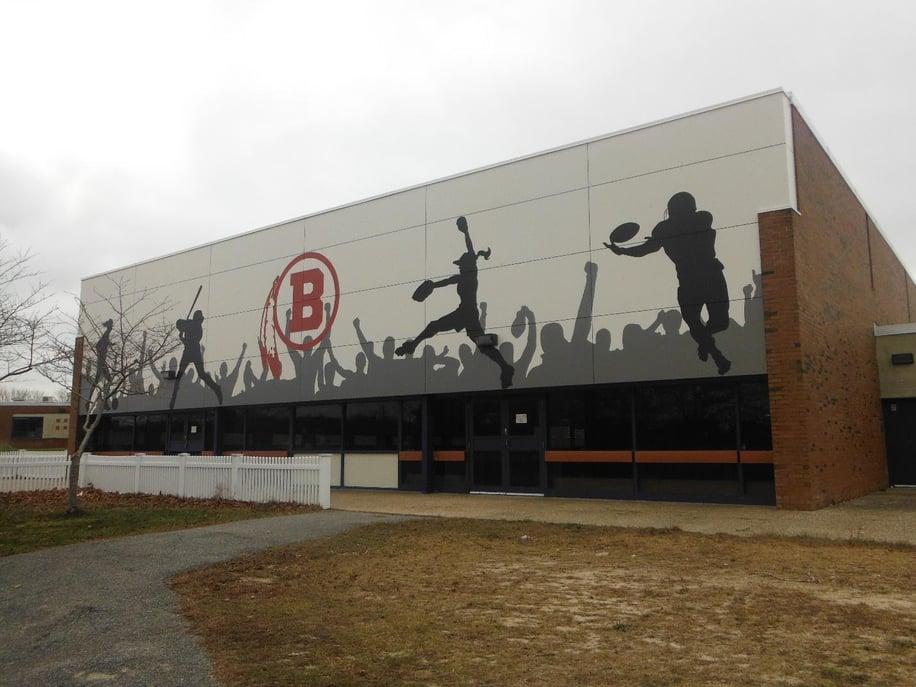 Barnstable High School using FunderMax's digitally printed exterior phenolic panels.