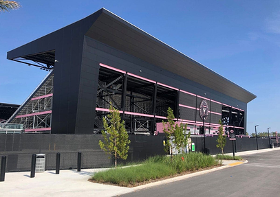 Lockhart Stadium in Florida using Fundermax phenolic panels.