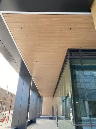 Office building in North Carolina using Fundermax's Modulo Plank System as soffits and entrance wall panels.