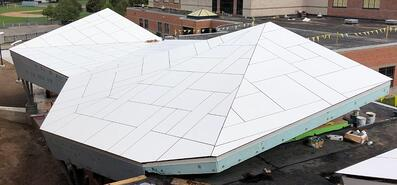 A close up of the roof using Fundermax's phenolic panels.