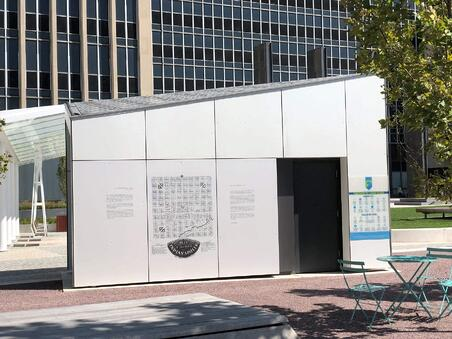 Lugar Plaza using Fundermax custom digitally printed panels to share information about Indianapolis