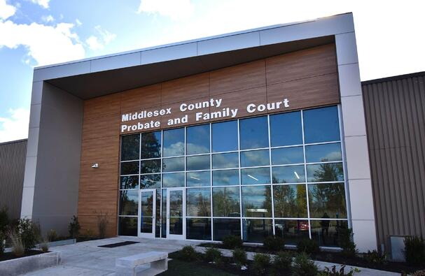 Middlesex county court with exterior phenolic panels and a concealed fastener.