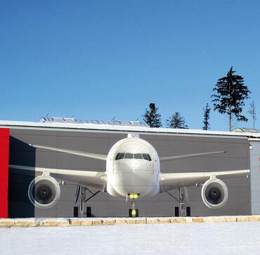 Custom digitally printed airplane image on the side of a wall