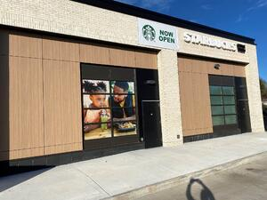 Starbucks in North Carolina with exterior phenolic panels and a exposed fastener.
