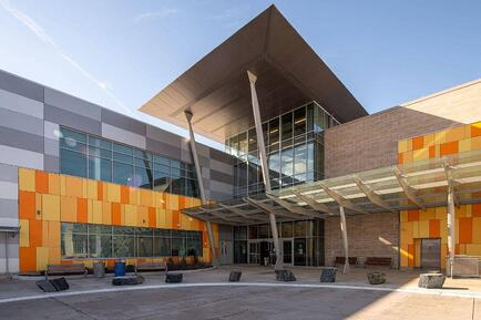 Wheaton Library and Recreation Center using Fundermax Max Compact Exterior phenolic panels.
