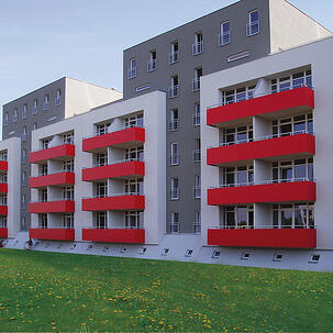 red fundermax balconies